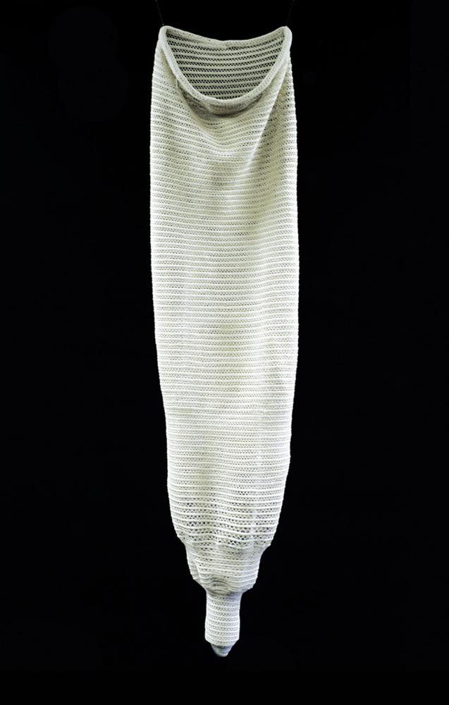 Handmade Macrame Condom   Year: 2006  Technique: cotton thread, cm 170 x 60