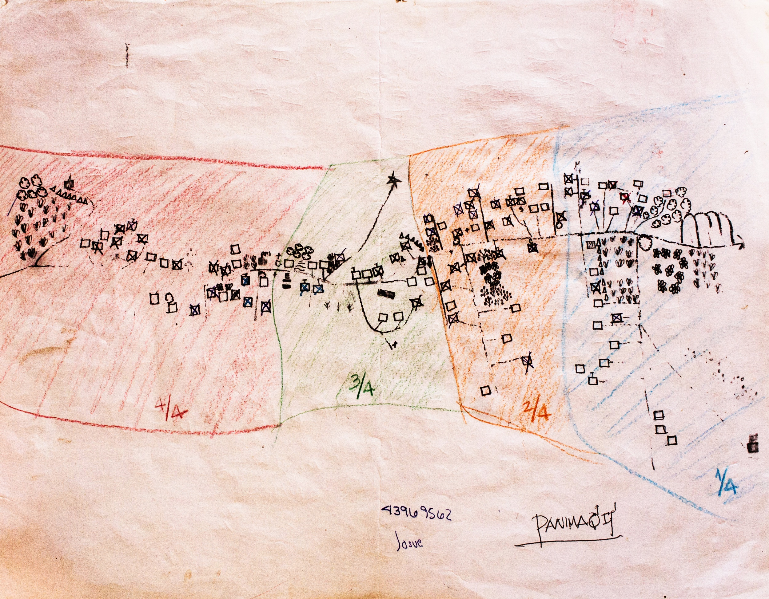 A map Yeny drew of her village to help her find her way from home to home.