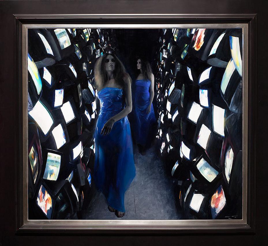 """Videodrome"" 48x54 oil on canvas"