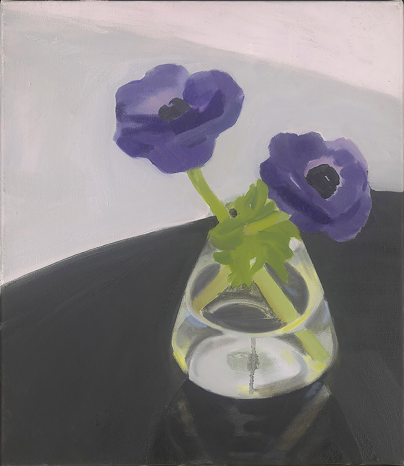 Purple Ranunculi with Black Table, oil on canvas, 41 x 35.5 cm (sold)
