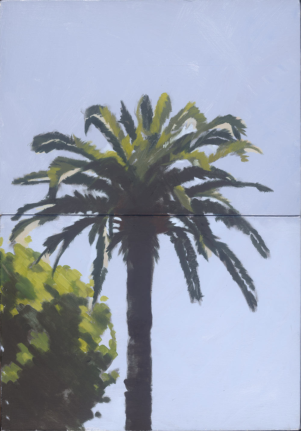 Afternoon Palm,(Diptych) oil on linen, 74 x 50.5 cm
