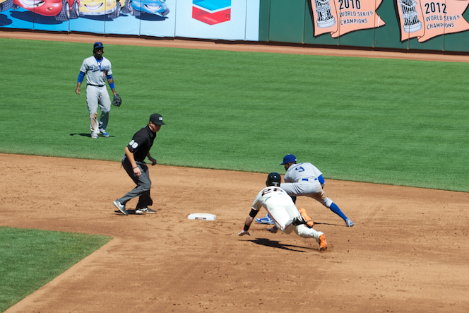 Posey going for second, 2014 ,AT&T Park, San Francisco, CA