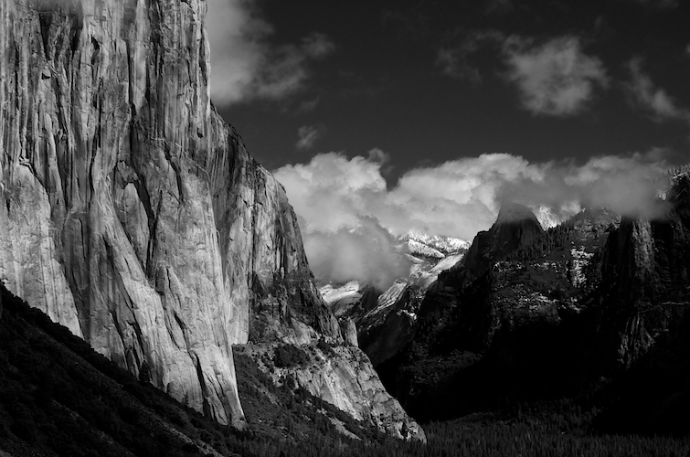 Yosemite Valley, clearing storm from the tunnel view parking area.