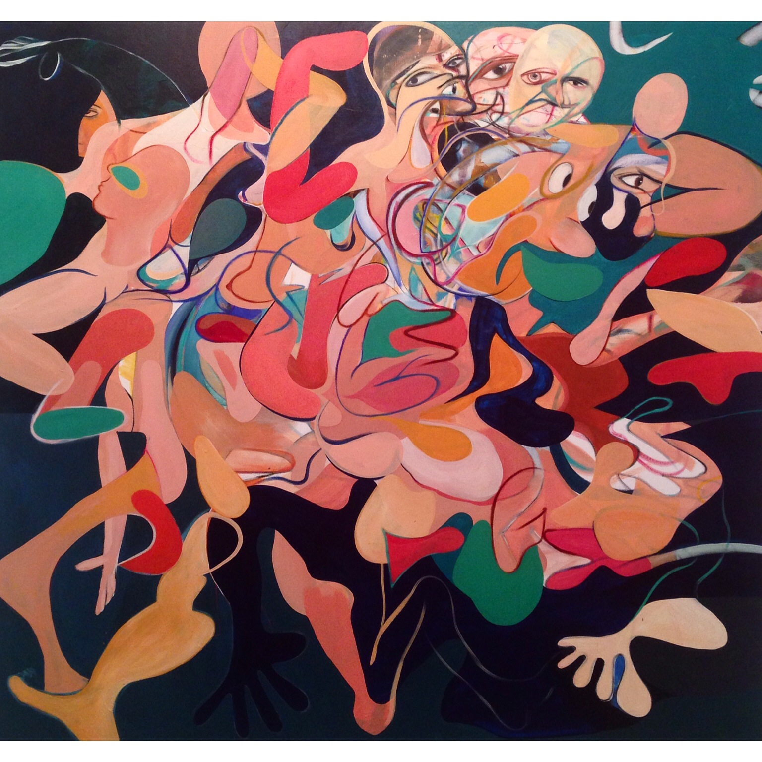 Acrylic and Oil Stick on Canvas  87 x 79 in  220 x 200 cm