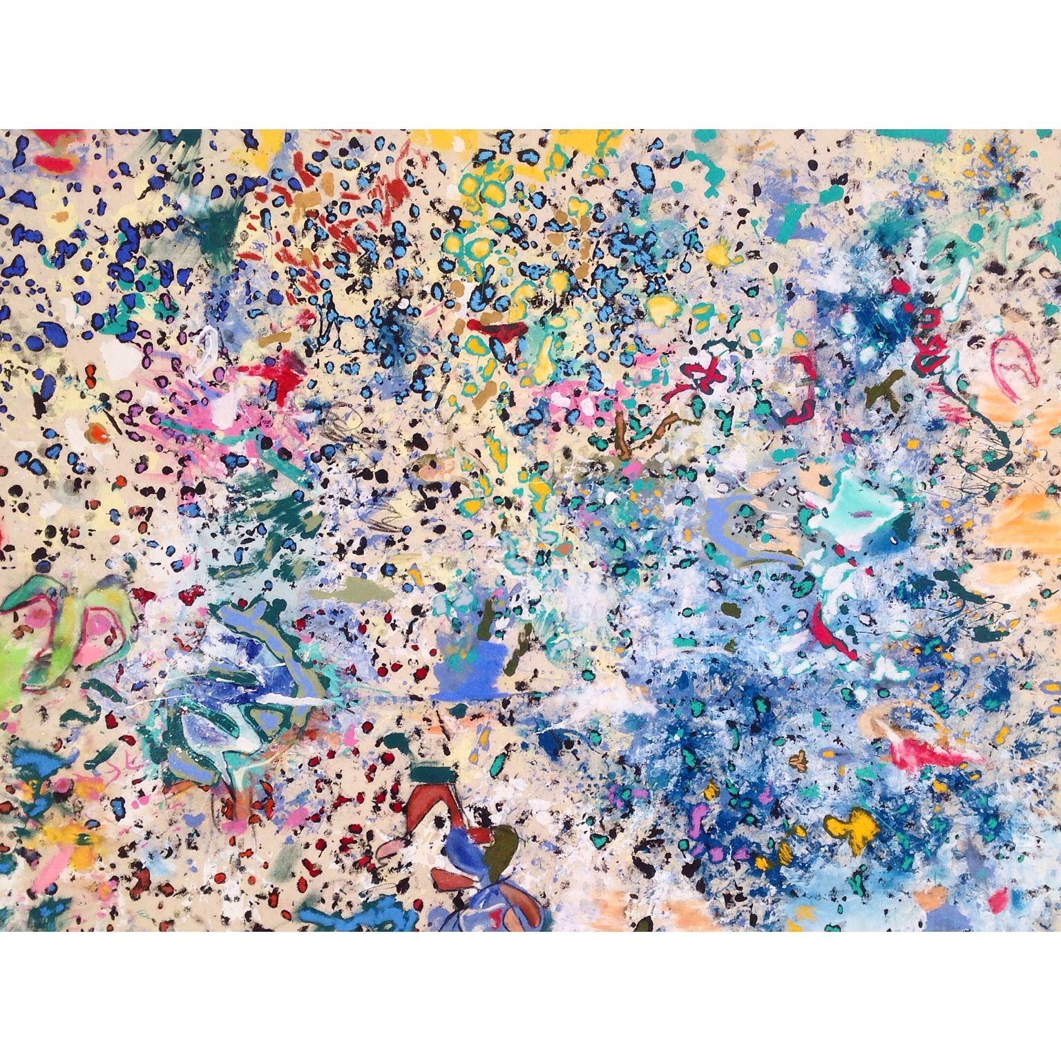 Acrylic and Oil Stick on Canvas  63 x 47 in  160 x 120 cm