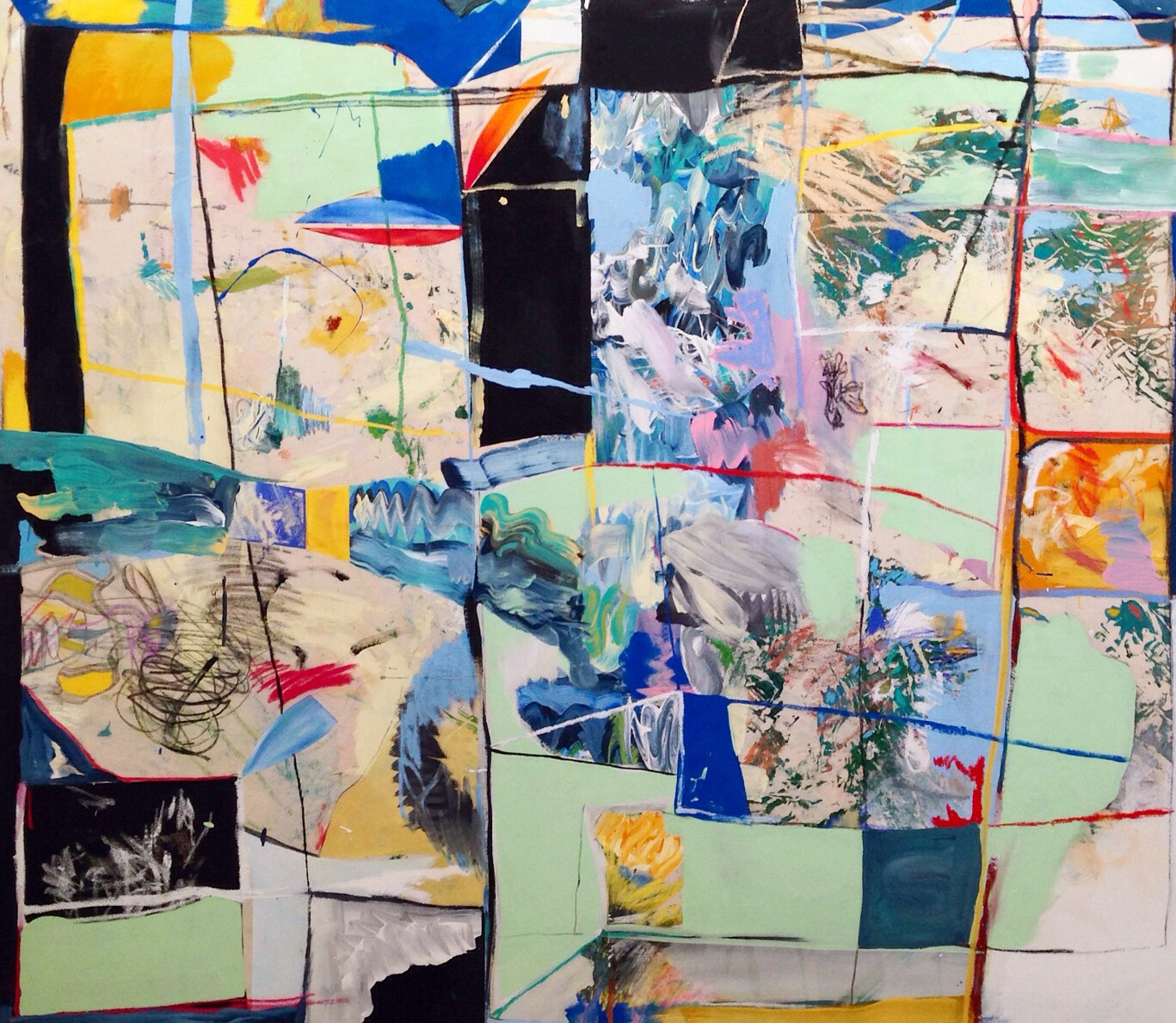 Acrylic, Oil Stick, Soft Pastel, and Charcoal on Canvas  66 x 54 in  168 x 137 cm