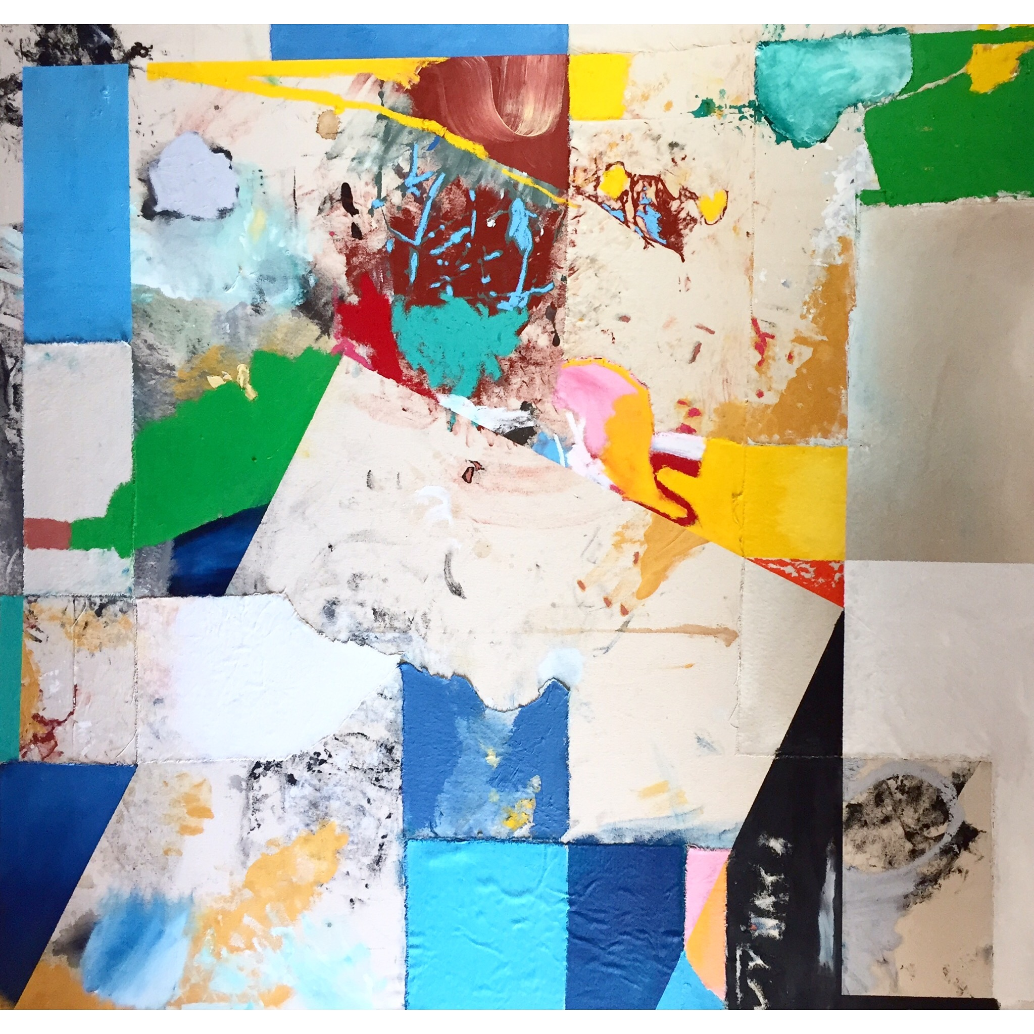 Acrylic, Oil, Oil Stick and Cut Canvas on Canvas  52 x 50 in  132 x 127 cm