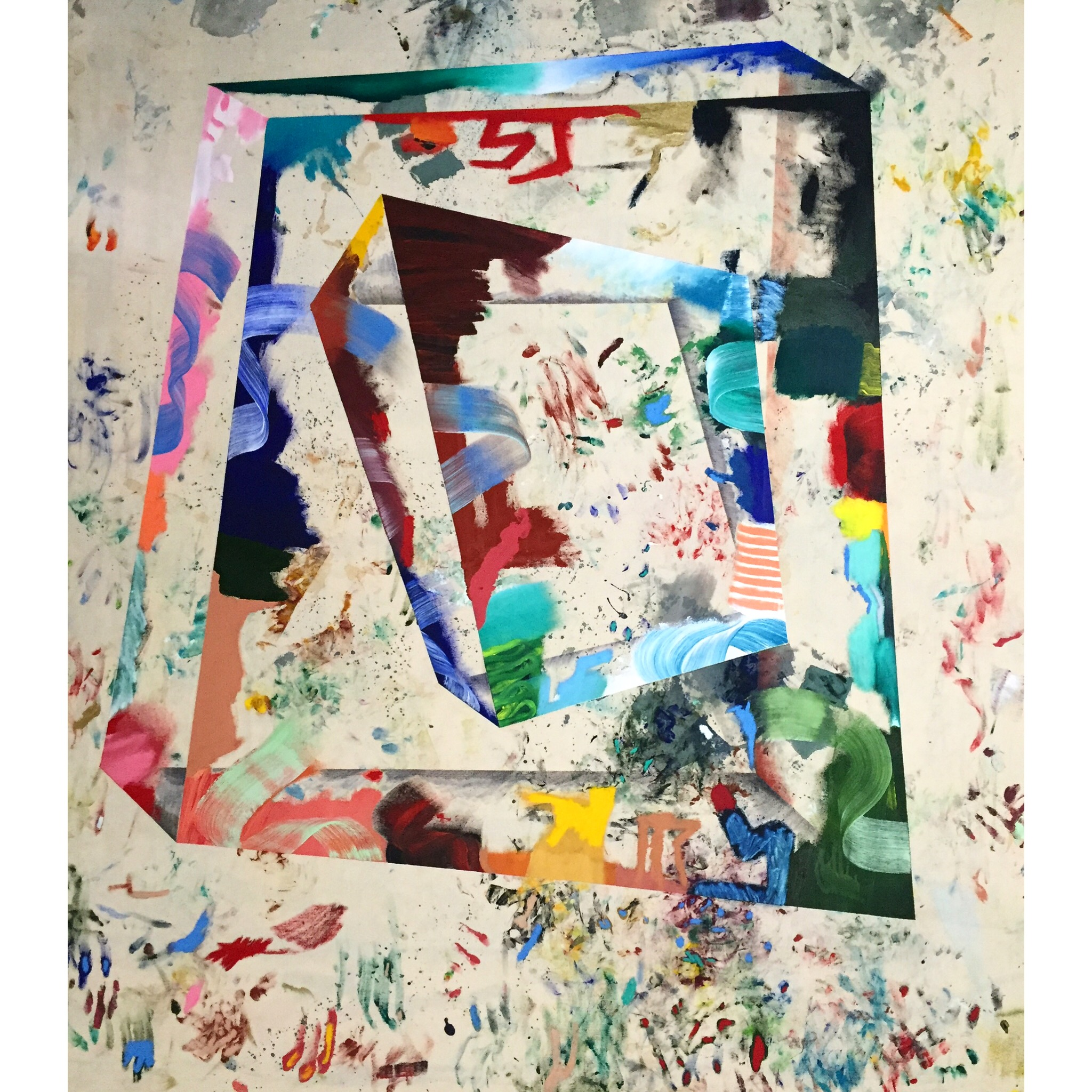 Acrylic, Oil, Oil Stick, Fabric Paint, Soft Pastel and Marker on Canvas  58 x 65 in  147 x 165 cm