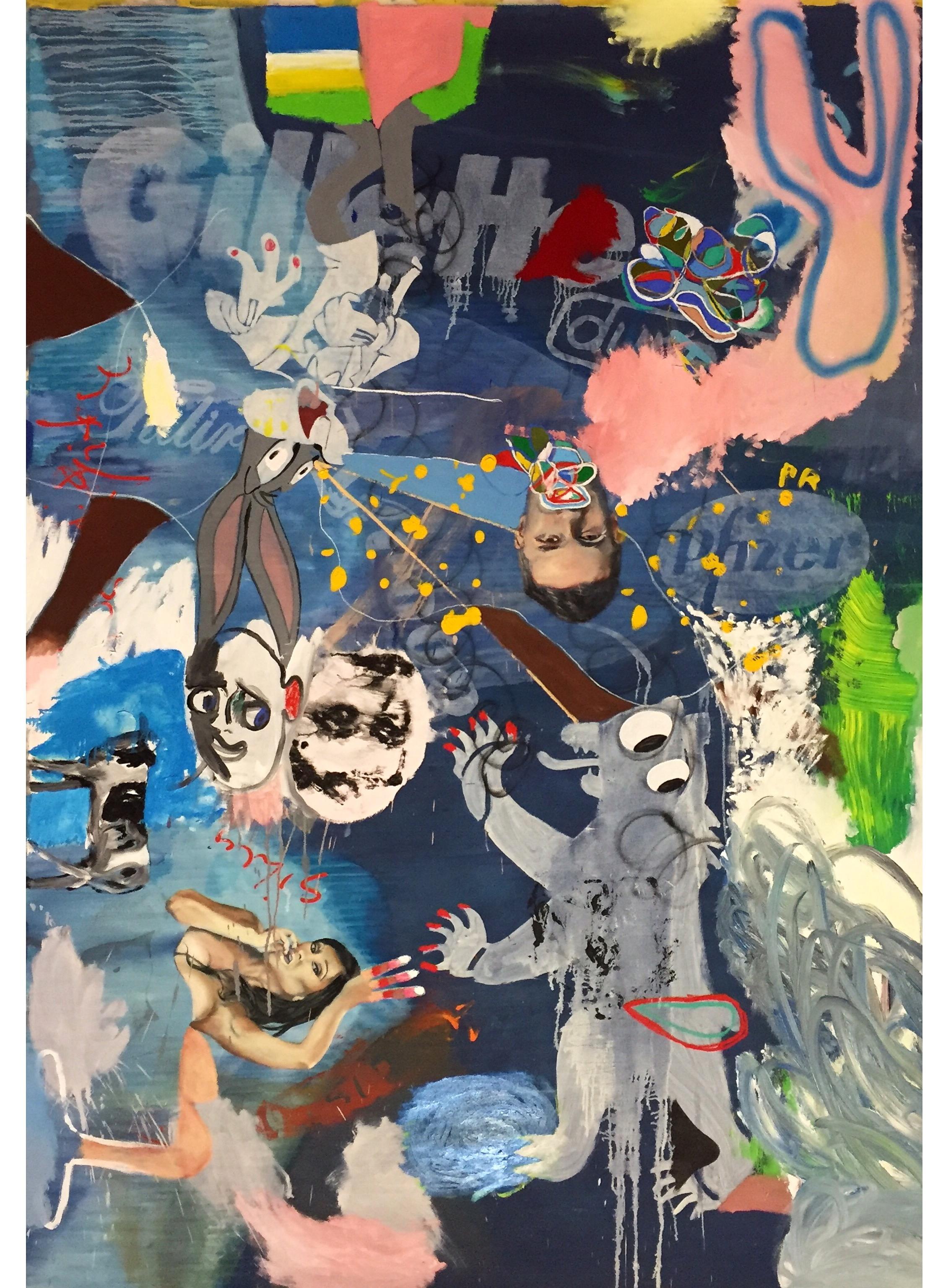 Oil, Acrylic, and Spray Paint on Canvas  98.5 x 71 in  250 x 180 cm