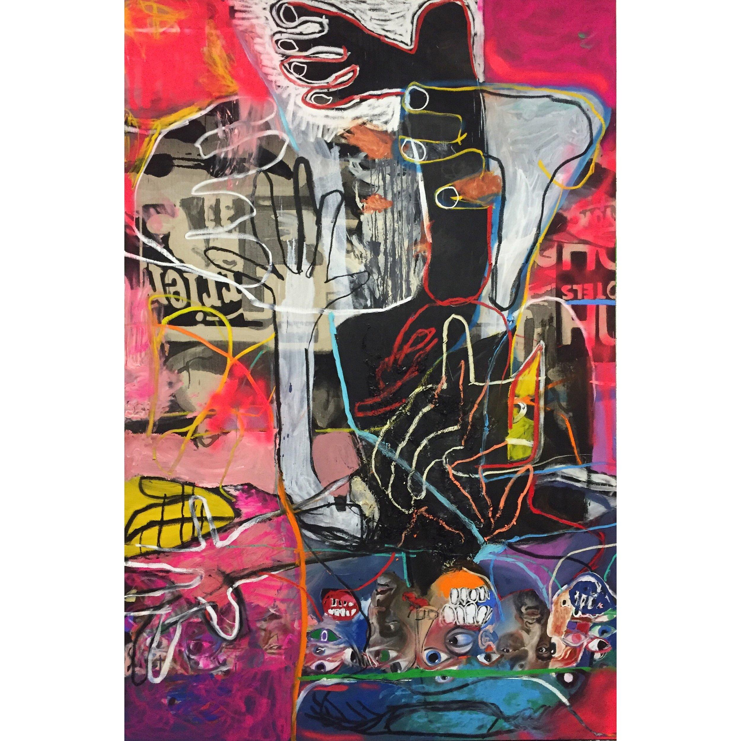 Oil, Acrylic, and Spray Paint on Canvas  83 x 55 in  210 x 140 cm