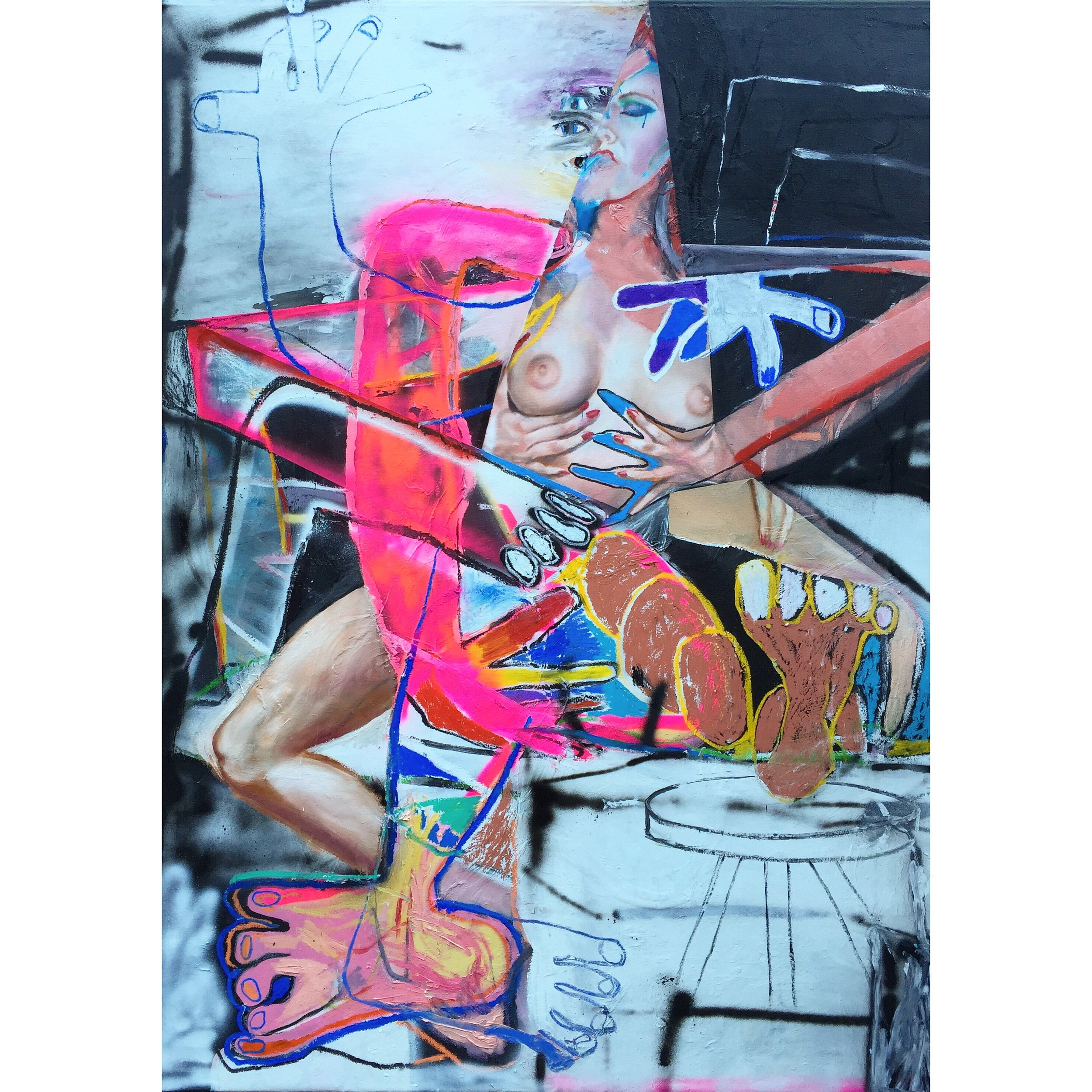 Oil, Oil Stick, Acrylic, and Spray Paint on Canvas  71 x 51 in  180 x 130 cm