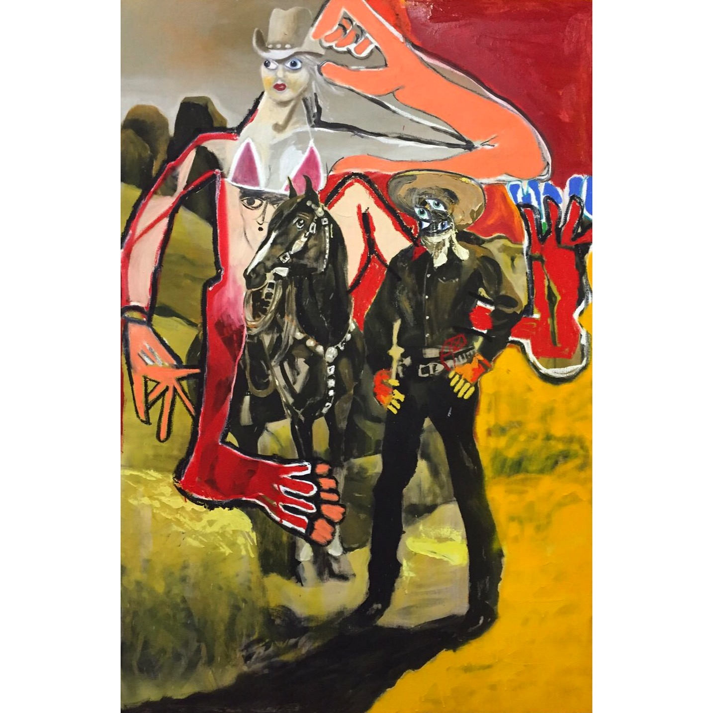 Oil, Oil Stick, Acrylic, and Spray Paint on Canvas  77 x 51 in  195 x 130 cm