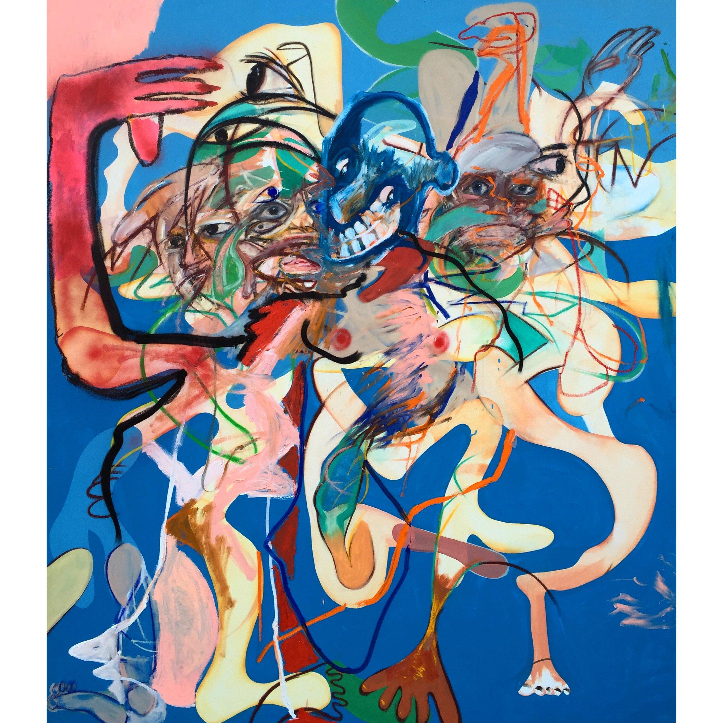 Oil, Acrylic, and Spray Paint on Canvas  77 x 68 in  197 x 172 cm