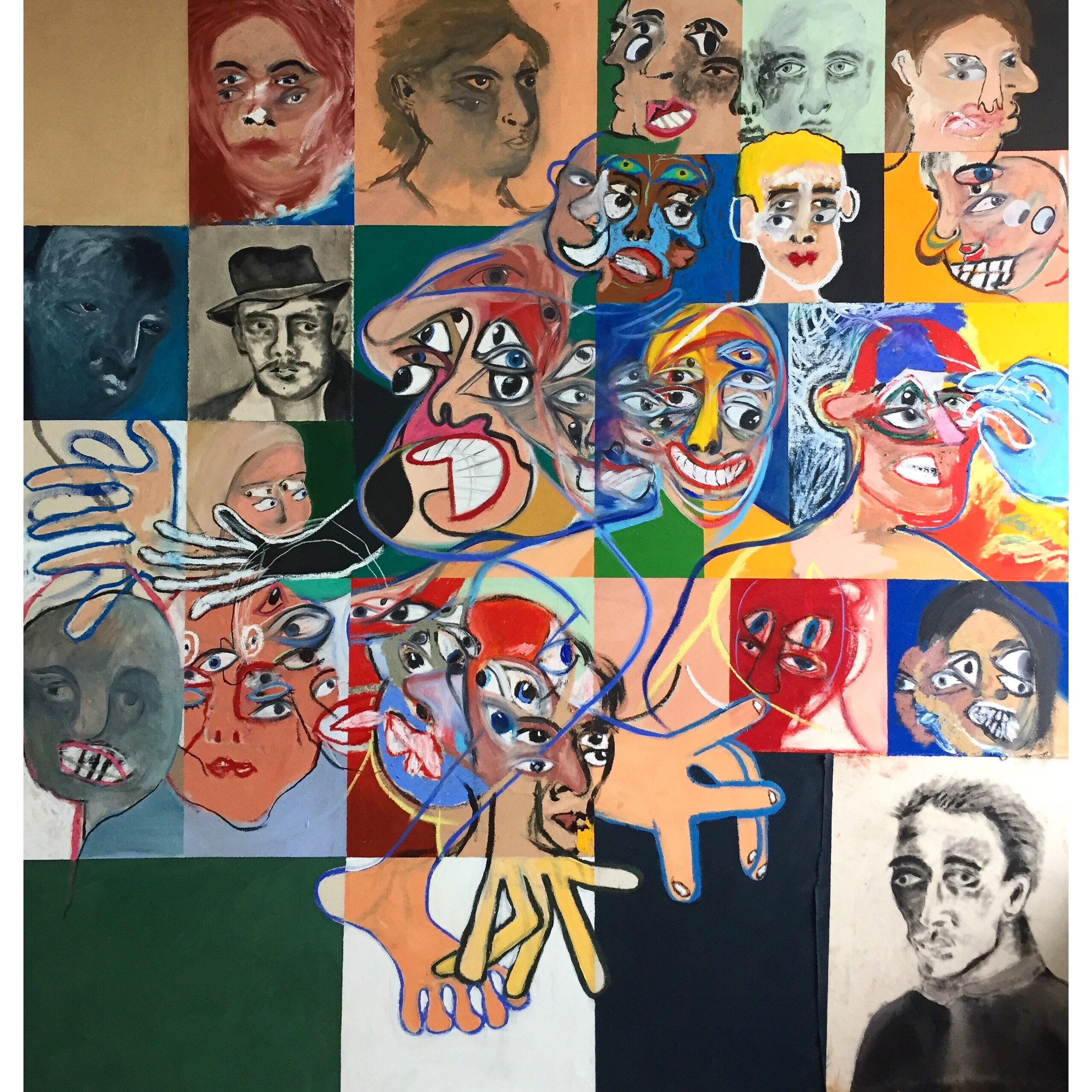 Acrylic, Oil Stick, Charcoal and Soft Pastel on Canvas  66 x 63 in  168 x 160 cm