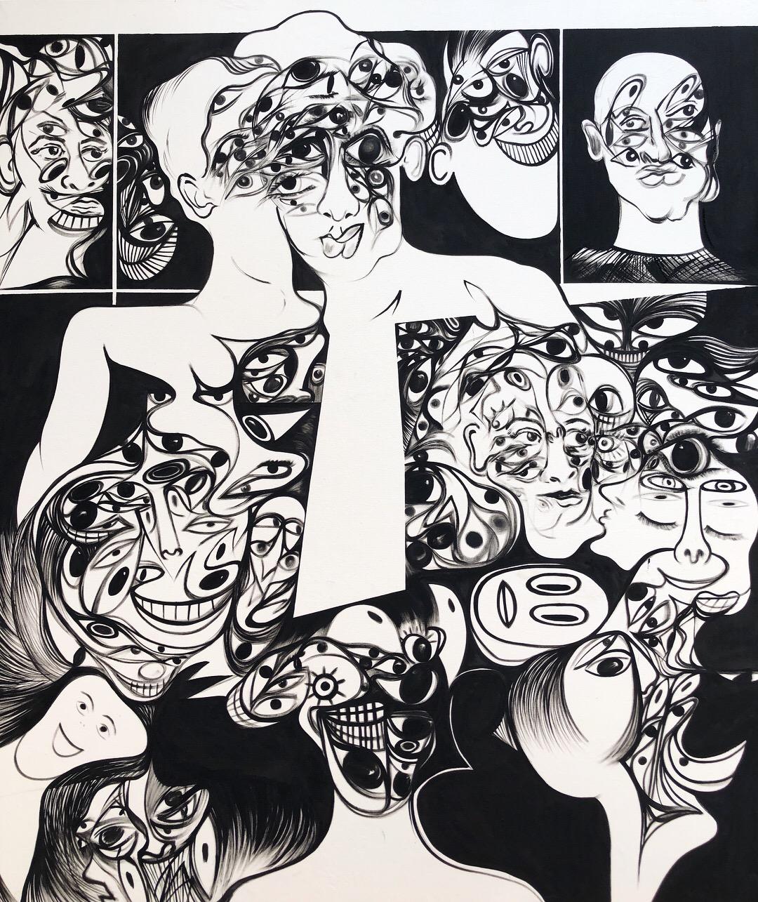 Acrylic on Canvas  75 x 64 in  192 x 164 cm