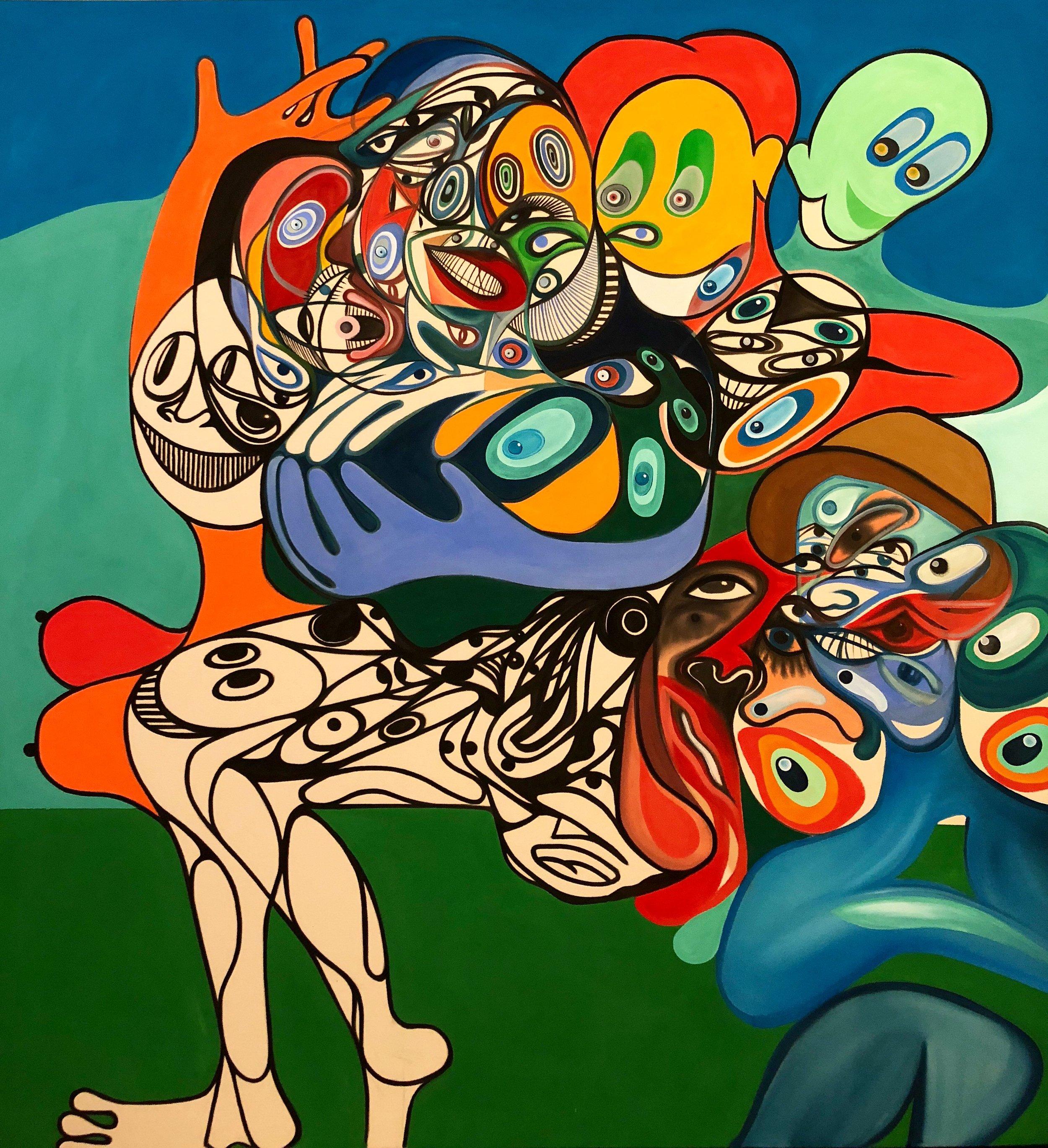 Acrylic on Canvas  64 x 60 in  163 x 152 cm