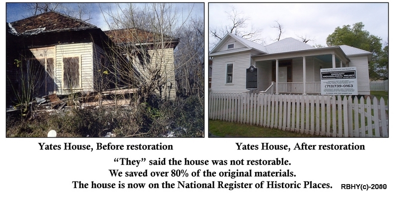 The Yates House before and after restoration. With over 80% of the original building materials saved.