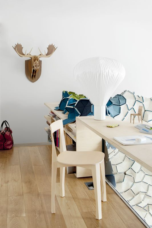 BIG-GAME's 'Moose' from 2005, Inga Sempé's 'Vaporetto' table lamp from the first collection in 2009 and Azambourg's new 'Quadrille' dining chair.