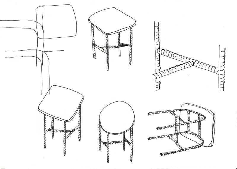 Sylvain Willenz's sketch for the 'Candy' tables released by Cappellini in 2012.