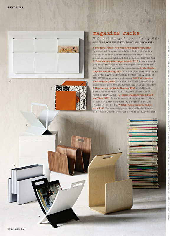 Shot for Inside Out in 2011, Essentials magazine racks used white washed ply and a large stack of Domus magazines to provide character and context. Photography by  Craig Wall .