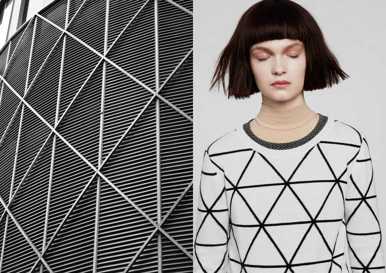 Patternity designed a 28-piece collection for knitwear specialists, Chinti & Parker for their Autumn Winter 2013 collection. The imagery reveals the way Patternity are inspired by the patterns made by architecture.