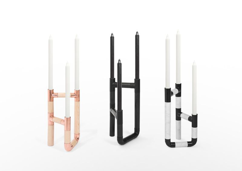 The 'Podium' candelabra designed by Jorge de la Cruz and Diana Vernaza comes in ash timber and marble but can have the timber stained black or specified with copper joints. In black the signature pipe joints become less obvious and the whole thing slicker and more masculine.