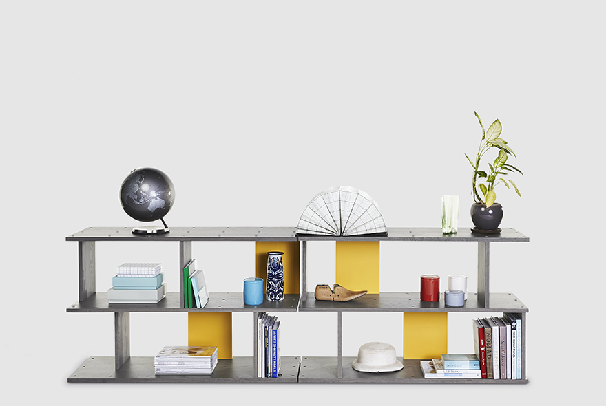 A two tier version of the 'Pegboard' shelving system. The modular shelving is made of solid oak and can be specified in an array of colours and in variations up to five tiers high. Dividers can be added in numerous ways to add colour and shape.
