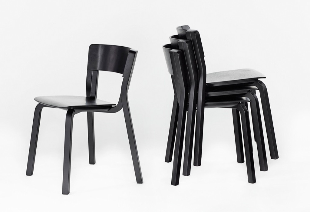 The stacking armless version of Adam Goodrum's 'Para' chair for Dessein Furniture.