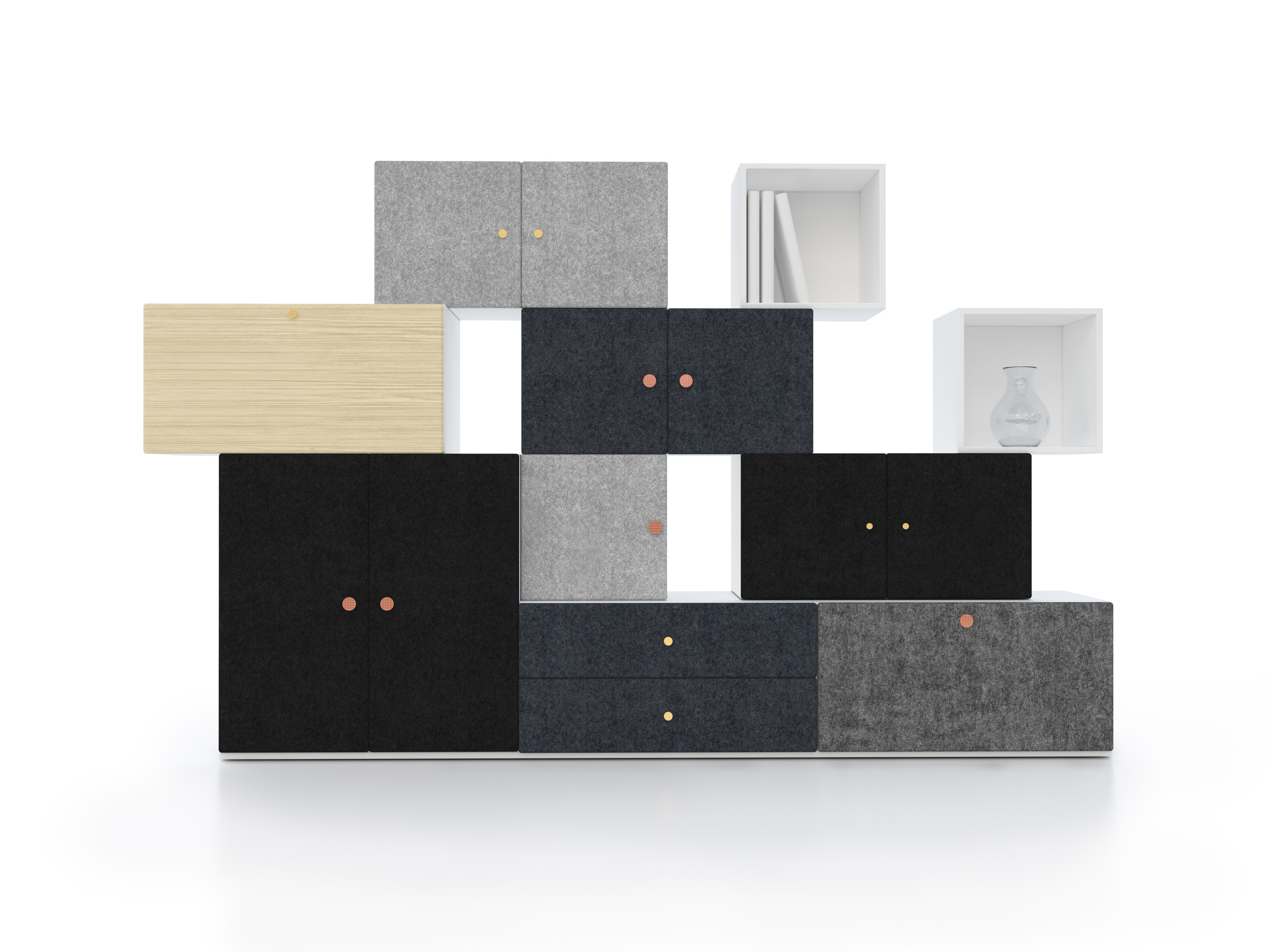 Swedish trio, Front, released 'Tetris', a stacking storage system for Swedish company Horreds that is made up of two units that can be positioned horizontally or vertically and specified with various front panels including felt as shown.