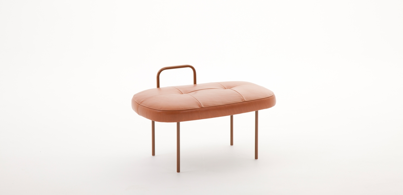 The 'Sol' stool by Andreas Engesvik for Norwegian brand LK Hjelle is as cute as a button. Available in a range of coloured canvas or in cognac coloured leather as shown here.