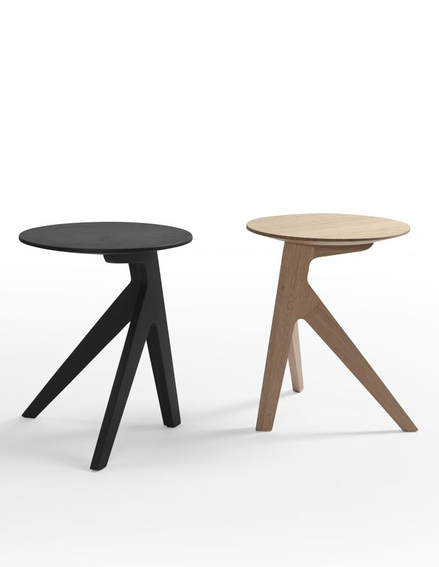 Jon Goulder's 'Splay' table in a black stain and in natural Tasmanian oak from One/Third's first collection in 2012.