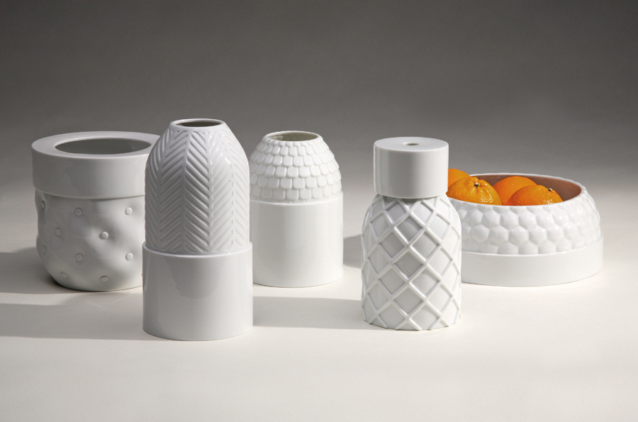 'Vases Texturés' in porcelain by Guillaume Delvigne and Ionna Vautrin. Photo: Ilvio Gallo.