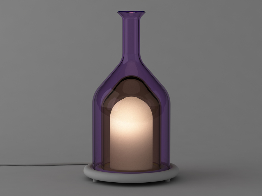 Delvigne's limited edition'Campagne' table light - three layers of glass on a solid surface acrylic base.