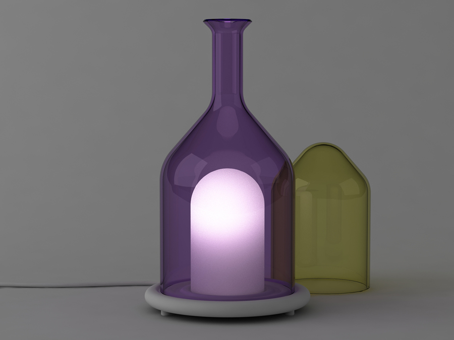 The three glass bells of 'Campagne' table light are removable.Edition of 15 pieces +2A.P.