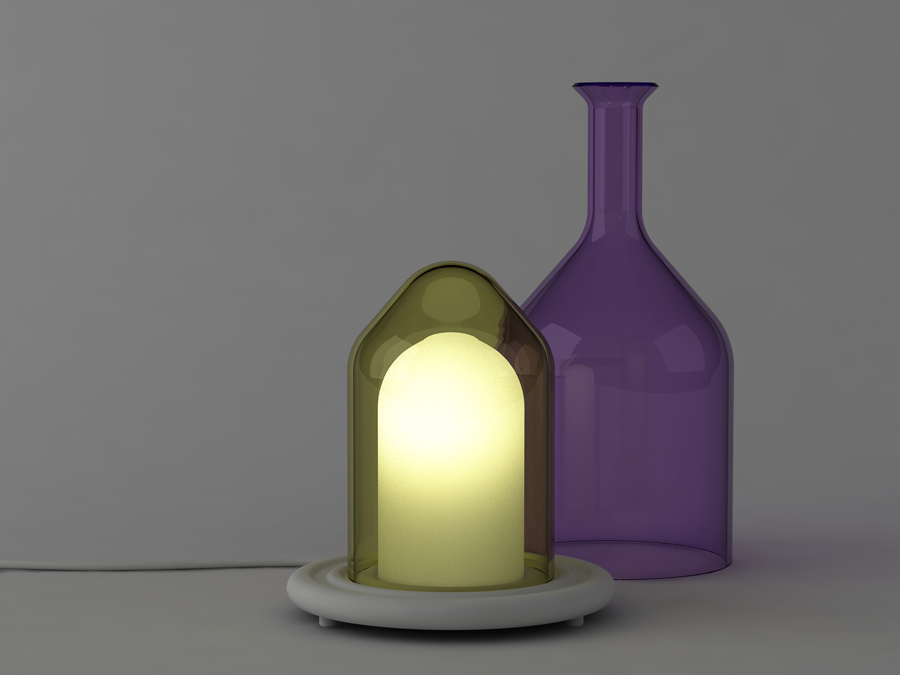 The glass elements of the light can be used separately like bell jars.