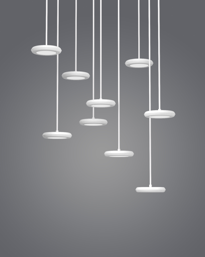 Unadorned 'Hal' LED pendant lights by Guillame Delvigne for La Chance. Released in 2013.