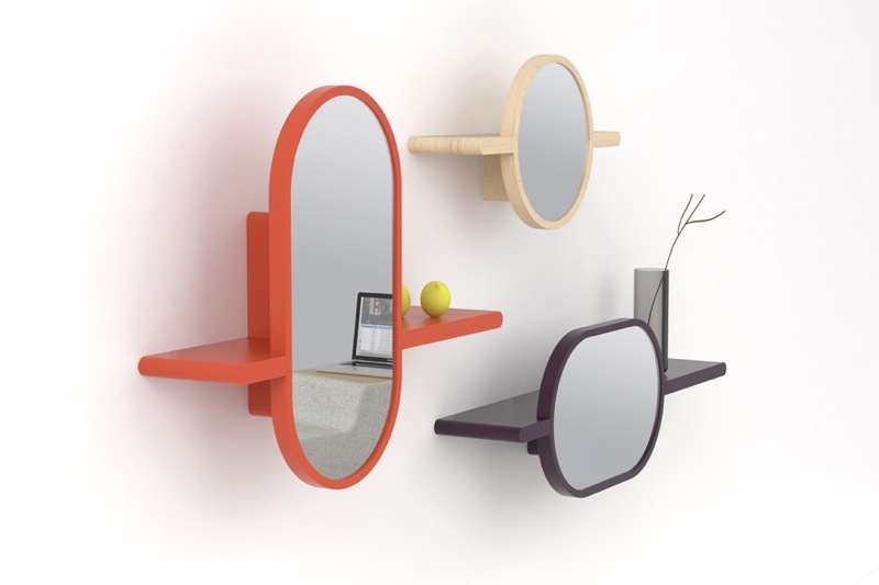 'Mirettes' shelves and mirrors in one. Designed by Delvigne for Oxyo 2011.