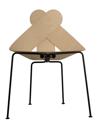 Maarten Baptist's 'Lucky Love' chair  for Buhtiq31 in natural ash veneered moulded plywood.
