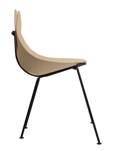 A side view of the 'Lucky Love' chair by Maarten Baptist for Buhtiq31.