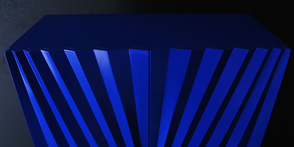 A detail of the 'Sapphire' cabinet's doors. Designed by Markus Johansson and manufactured by Olby Design.