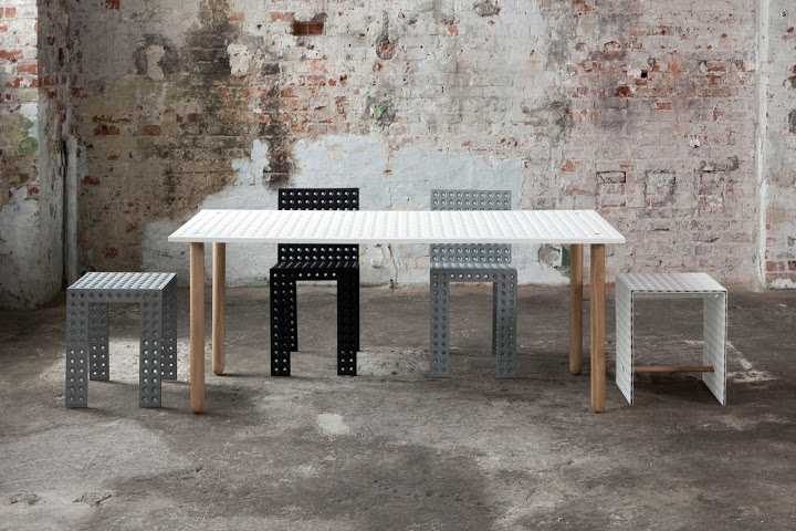 The 3+ collection by Oskar Zieta for his own label, Zieta. Like lego you can just about make anything with this material and Zieta is inventing a new piece on a regular basis.