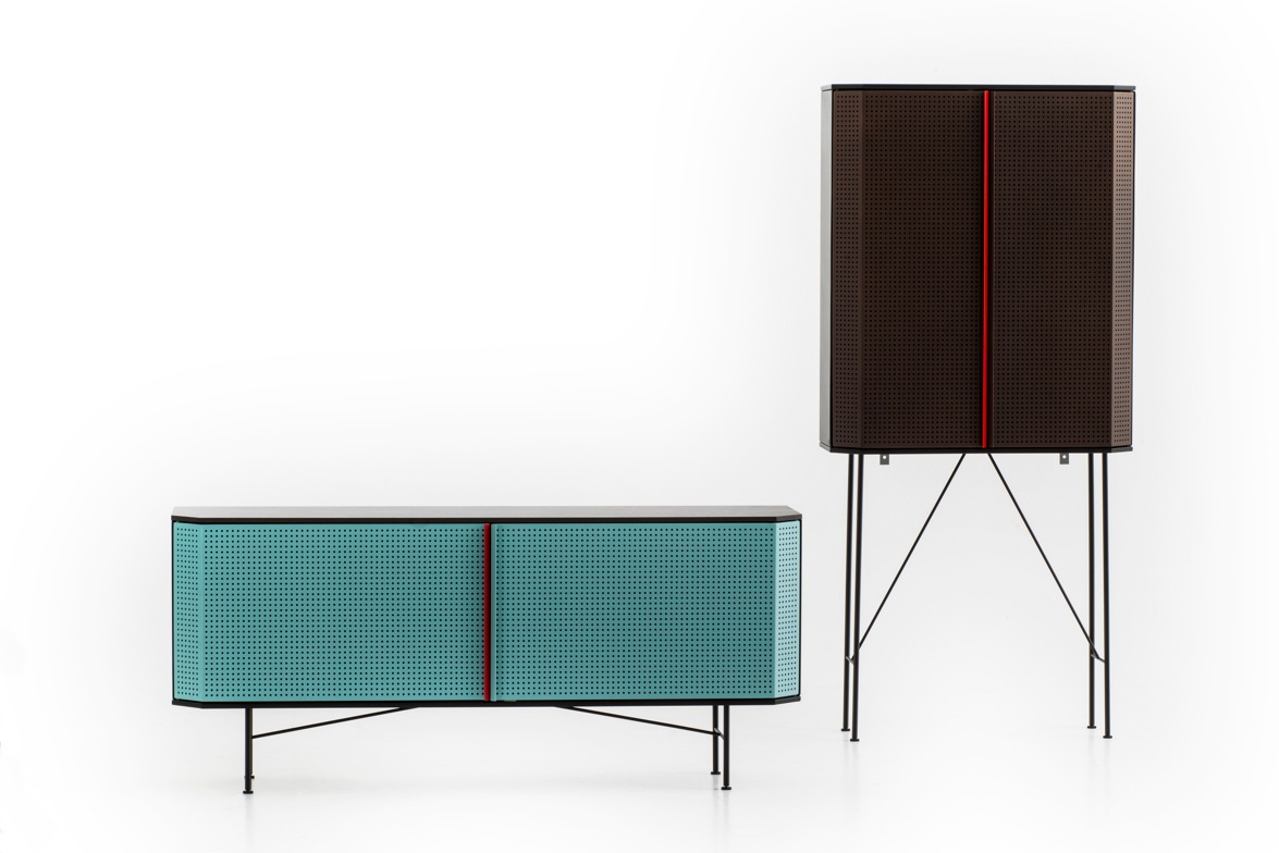 Diesel Living (made by Moroso) showed a series of new cabinet's called 'Perf', that revealed the full beauty of using simple perforated material. The small holes keep the interior private but adds a mixture of intrigue and depth.