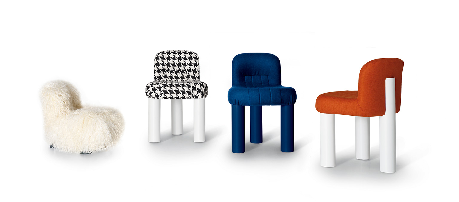 Cini Boeir's 1973 'Botolo' chair reissued by Arflex, comes in two heights and in fabric, fur or leather.