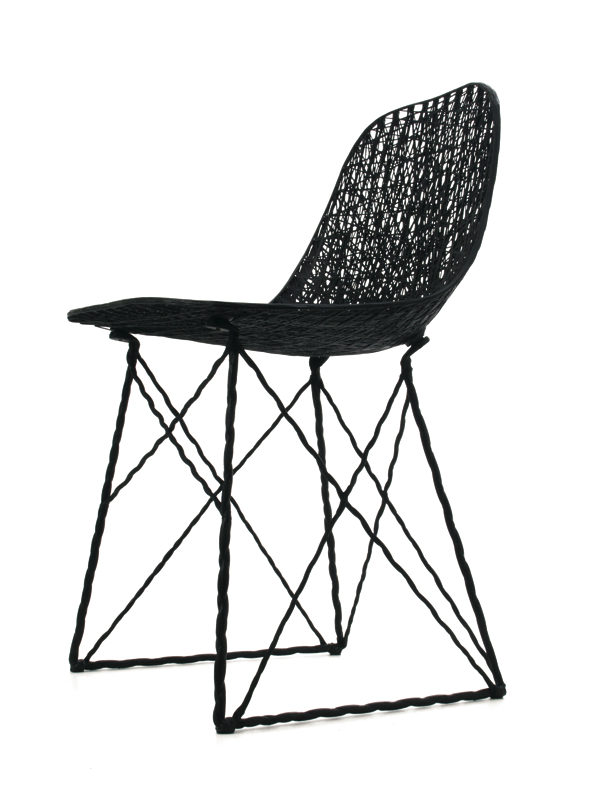 The 'Carbon' chair was released by Moooi in 2004 and has been selling steadily ever since. Like his first big hit, the 'Random' light (also released by Moooi), the chair comes from Pot's early experiments in resin and fibres.