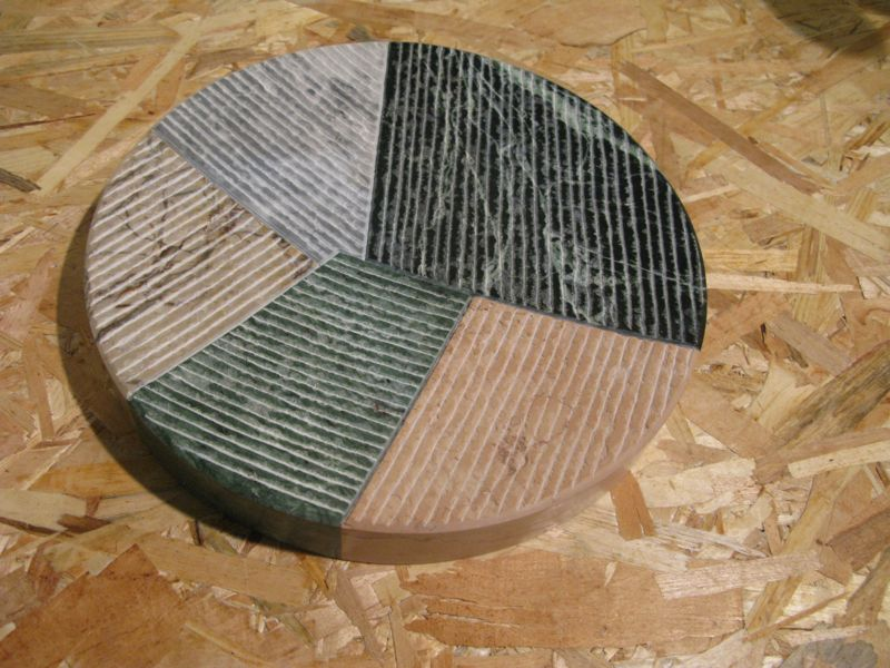 Tsukasa Goto's platter in a variety of different marbles.