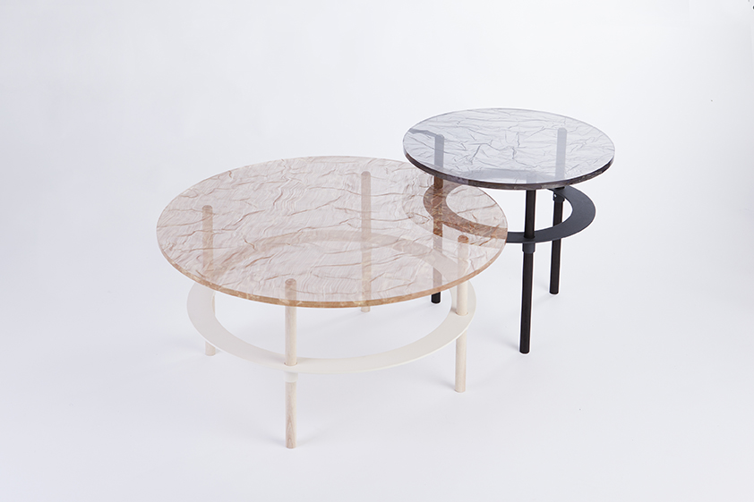 Joa Herrenknecht's 'Mars' and 'Pluto side tables in fused metal mesh and glass.