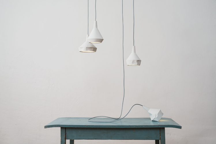The 'Like paper' pendant lights by Aust & Amelung are made from slewed concrete. Photography by Minu Lee.