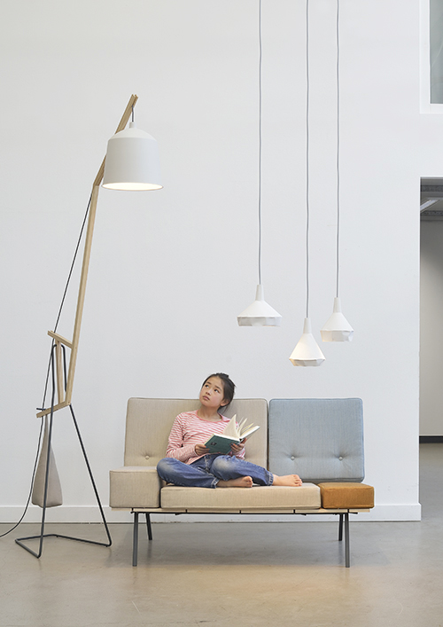 Aust  & Amelung's 'A floor light', 'A bench' sofa and 'Like paper' pendant lights. Photograph by Minu Lee.