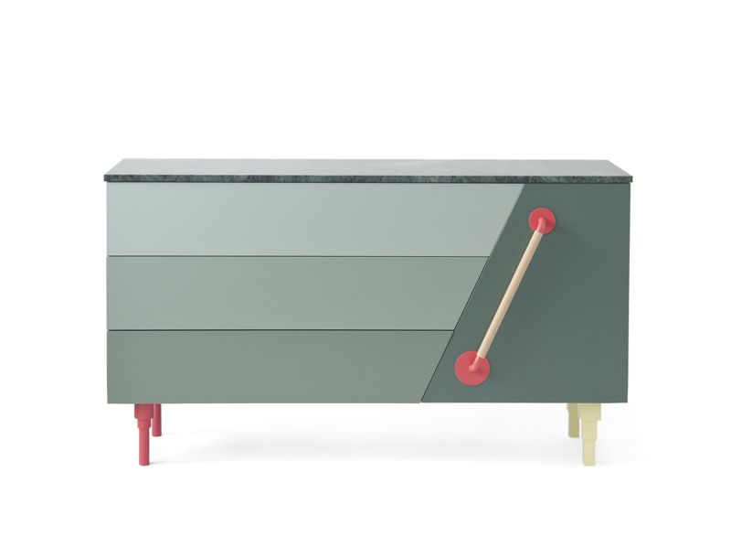 Swedish NInja's funky 'Rufus' cabinet features a green marble top and delicate shades of green in it's drawer fronts.