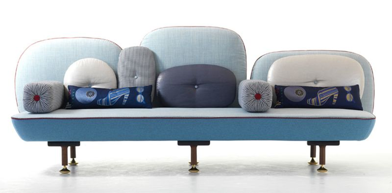 Doshi Levien's 'My Beautiful Backside' sofa for Moroso from 2008 was inspired by a miniature painting of an Indian Princess sitting on the floor of a palace surrounded by cushions.